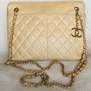 CHANEL Lambskin Quilted Mademoiselle CC Charm Tote